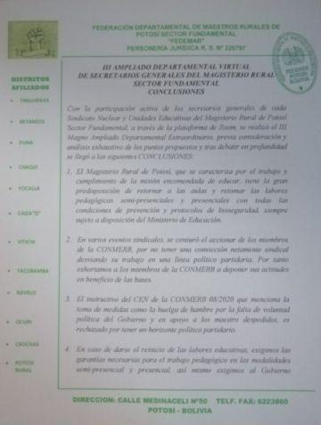 Magisterio rural de Potosí no ingresa este lunes en huelga de hambre