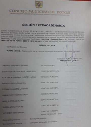Concejo analiza hoy la continuidad del alcalde de Potosí
