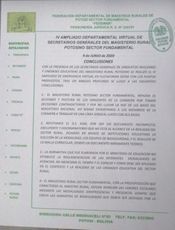 Magisterio rural potosino rechaza decreto que regula las clases virtuales