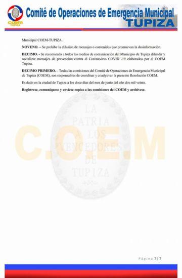 COEM Tupiza ratifica cuarentena de riesgo medio