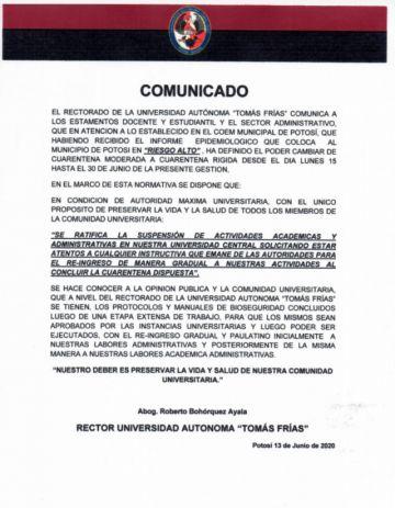 La UATF ratifica suspensión de actividades