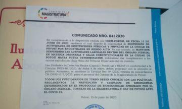 Actividades judiciales se suspenden en Potosí
