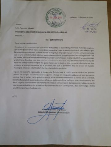 Concejo Municipal observó renuncia de alcalde de Llallagua