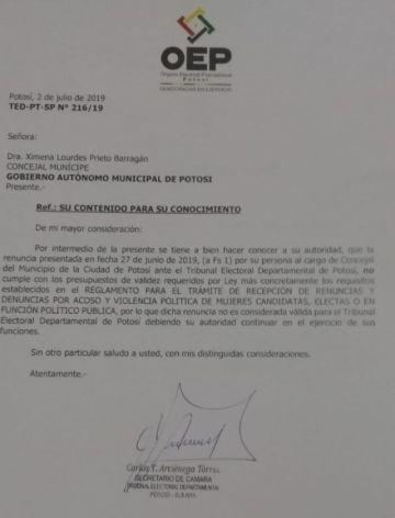 Ximena Prieto dice que su renuncia al cargo de concejala fue rechazada