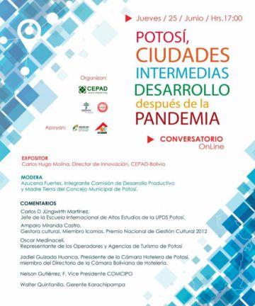 """Se desarrolla el conversatorio """"Potosí, Ciudades Intermedias y el post Pandemia"""""""