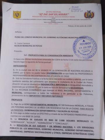 Vecinos piden bono de 500 Bolivianos para enfrentar la pandemia