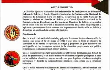 Magisterio urbano de Bolivia declara huelga, piden la destitución del ministro de Educación