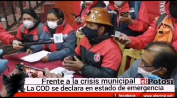 COD se declara en emergencia por crisis en la Alcaldía de Potosí