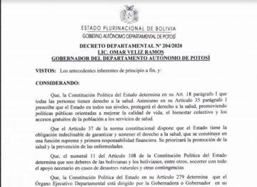 Lea el Decreto Departamental amplia la Cuarentena Condicionada y Dinámica en Potosí