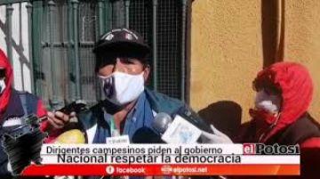 Dirigencia campesina pide respeto a la democracia