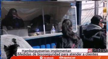 Vendedores de hamburguesas en Potosí muestran modelo de caseta con bioseguridad