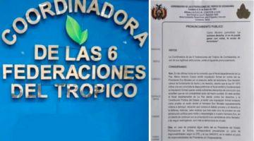 Coordinadora del Trópico declara alerta máxima ante cualquier intento de detención de Evo Morales