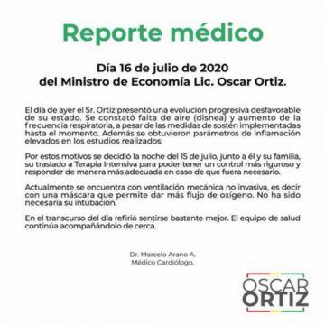 El ministro Óscar Ortiz fue trasladado a una sala de terapia intensiva
