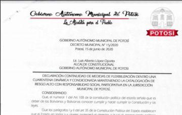 Vea aquí el decreto municipal que amplía la cuarentena dinámica en el municipio de Potosí