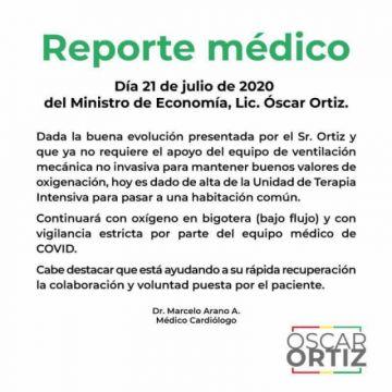 Óscar Ortiz sale de la unidad de terapia intensiva