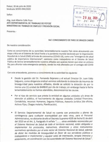 Sindicato del Sedes acata paro de brazos caídos en Potosí