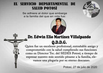 Fallece el médico Elio Martínez, exdirector del Sedes Potosí