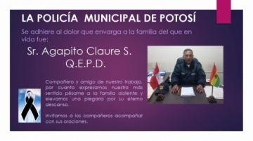 Con dolor, le dan el último adiós al gendarme municipal Agapito