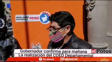 Gobernador confirma reunión del COED este viernes en Potosí