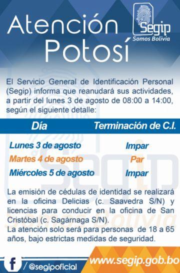 Segip Potosí atenderá desde el lunes hasta el miércoles