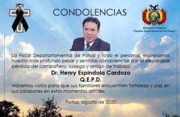 Muere fiscal que investigaba fraude electoral de octubre de 2019