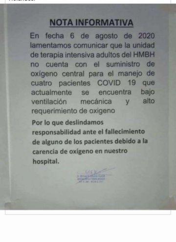 El Alto: Falta de oxígeno pone en riesgo la vida de 21 pacientes, entre ellos, bebés
