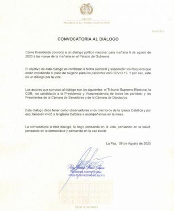 Urgente: La presidenta Jeanine Áñez convoca a diálogo para suspender los bloqueos