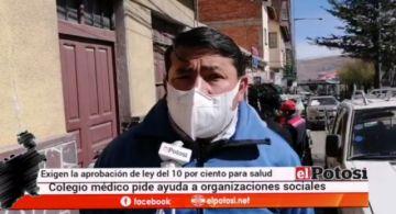 Colegio Médico pide apoyo para que se destine el 10 % al sector salud