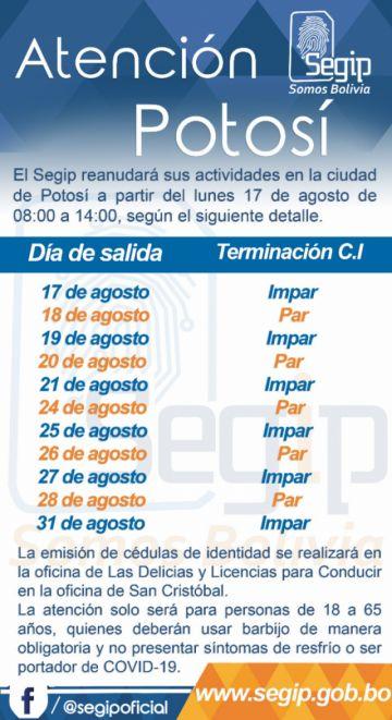 Sepa los horarios de atención en Segip en Potosí