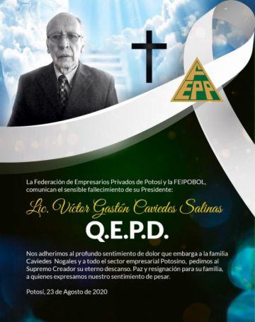 Fallece Gastón Caviedes, presidente de la Federación de Empresarios de Potosí