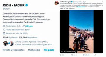 """CIDH afirma que """"por accidente involuntario"""" puso """"me gusta"""" a tuit de Evo Morales"""