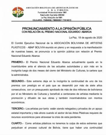 Los Artistas Plásticos de Bolivia exigen continuidad del Premio Eduardo Abaroa
