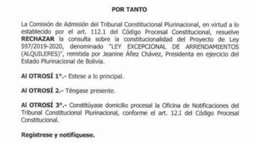 TCP rechazó consultas presentadas por Añez contra leyes de alquileres y de donación de plasma