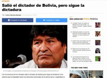 """""""Salió el dictador de Bolivia, pero sigue la dictadura"""", así titula Carlos Sánchez Berzain su columna de opinión en un medio extranjero"""