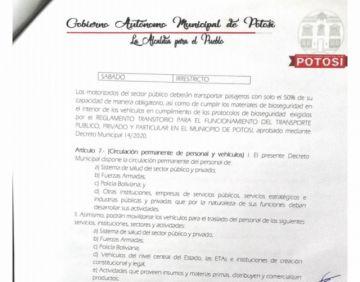 Lea el decreto que amplía jornada laboral hasta las 16:00 en el municipio de Potosí