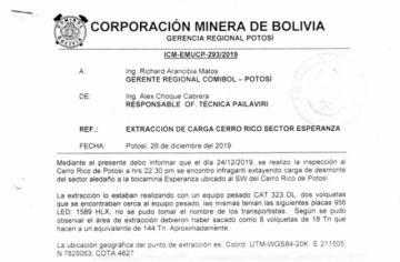 La Comibol encontró trabajos ilegales en la cota 4.400 del Cerro Rico pero no hizo nada