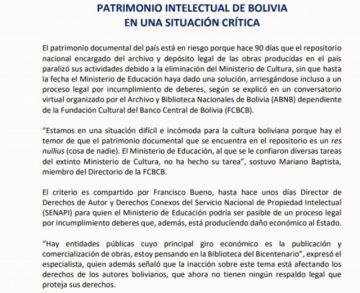 La Fundación Cultural BCB alerta que el patrimonio intelectual de Bolivia en una situación crítica