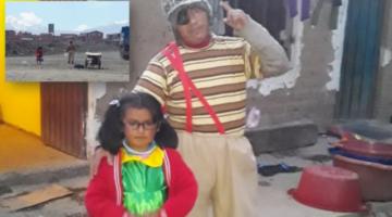 """Por la crisis de la pandemia, buscan ganar unos centavos vestidos como """"El Chavo"""" y la """"Chilindrina"""" en El Alto"""