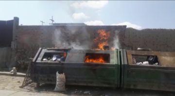 Emap denuncia incendio en un gran contenedor de la calle Sagarnaga