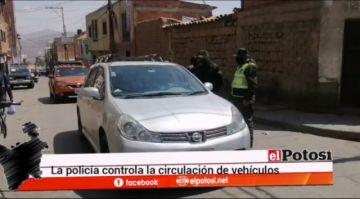 Policía controla a los motorizados en domingo de cuarentena