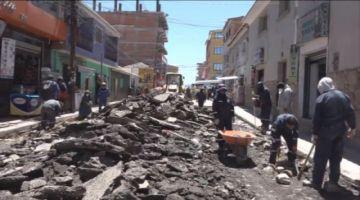 Realizan el mejoramiento de la avenida Arce en Potosí