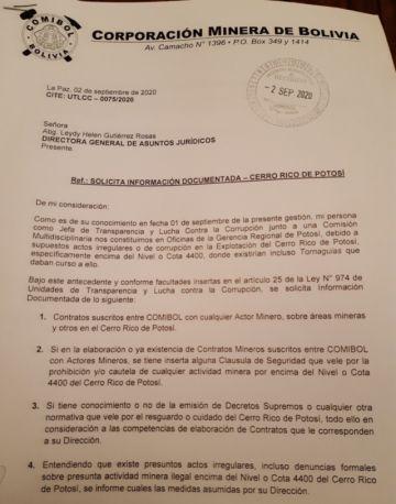 Presidente de Comibol fue destituido por no facilitar información sobre el Cerro Rico