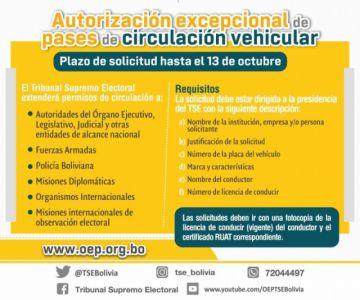 El TSE y los TED recibirán solicitudes de autorización de circulación vehicular hasta el 13 de octubre