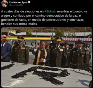 Evo Morales publicó imagen falsa de un sacerdote bendiciendo armas junto al ministro Murillo
