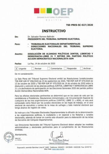 TSE confirma retiro de la carrera electoral de Juntos, Libre 21 y ADN