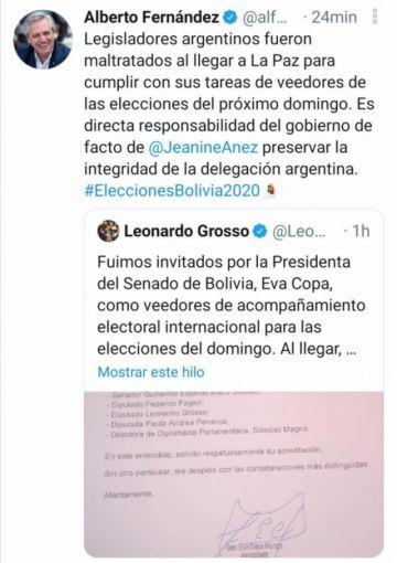 Retienen a la comitiva argentina a su llegada a La Paz y genera reacción de Alberto Fernández