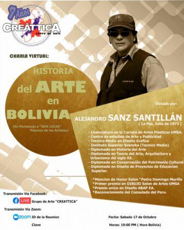 "Creáttica presenta charla virtual de  ""historia del arte en Bolivia"""