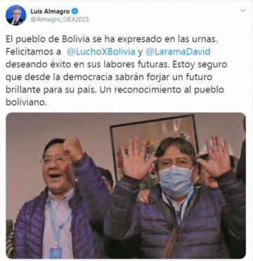 Luis Almagro felicita y desea éxitos a Arce y Choquehuanca por su victoria electoral