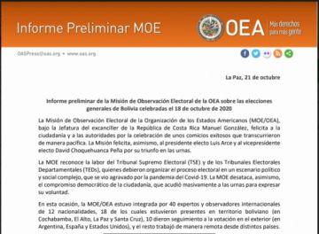 """Lea qué dice el informe preliminar de la OEA donde afirma que """"no se presentaron acciones fraudulentas"""""""