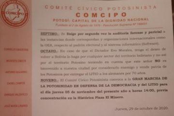 """Evo Morales """"no es bienvenido"""", dice Comcipo"""